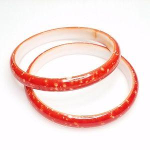 Vtg Red Speckled Plastic Bangle Bracelet Set of 2